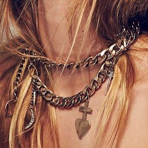 Free people biker chain charm necklace